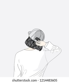 Women wearing stylish hats.The girl turned her back, feeling lonesome.Doodle art concept,illustration painting