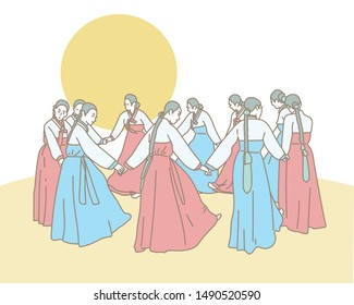 Women wearing traditional Korean costumes have traditional events under the full moon. The girls are spinning round each other holding hands. hand drawn style vector design illustrations.
