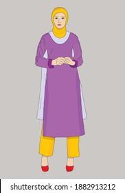 Women wearing traditional Pakistani suit shalwar kameez and muslim scarf hijab