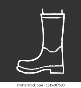 Women wellies chalk icon. Rubber boots for fall, spring rainy season. Unisex footwear design. Wellingtons, modern comfortable shoes. Male and female fashion. Isolated vector chalkboard illustration