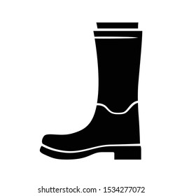 Women wellies glyph icon. Rubber boots for fall, spring rainy season. Unisex footwear design. Wellingtons, modern comfortable shoes. Silhouette symbol. Negative space. Vector isolated illustration