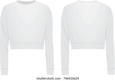 Women white crop sweater. vector illustration