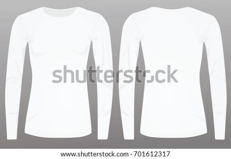 26a048829b34 Women White Long Sleeve T Shirt Stock Vector (Royalty Free ...