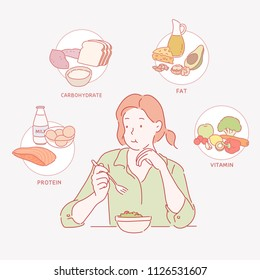 Women who eat salads and various nutritious foods icon. hand drawn style vector design illustrations.
