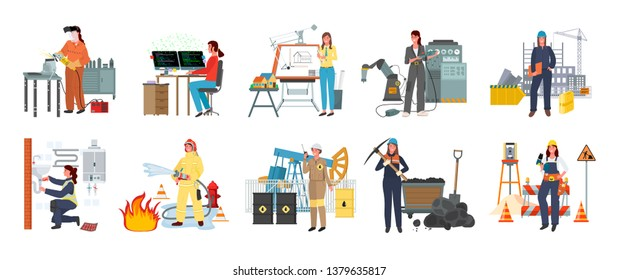 Women working as firefighter vector, lady building constructions flat style. Modern women set professional plumber and constructor workman isolated. We can do it ladies