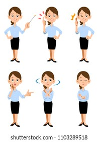 Women working in summer office, 6 different gestures and facial expressions