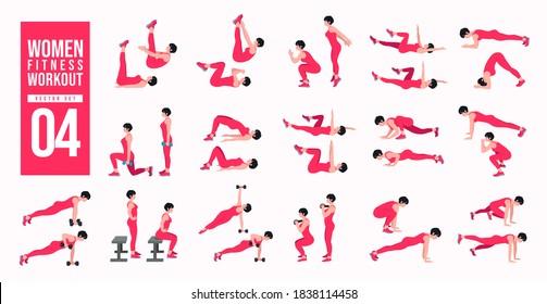 Women Workout Set. women exercise vector set. Women doing fitness and yoga exercises. Lunges, Pushups, Squats, Dumbbell rows, Burpees, Side planks, Glute bridge, Leg Raise, Russian Twist .etc