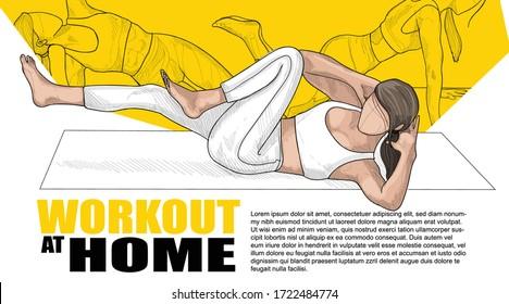 women workout vector illustration. workout poster design. sport background