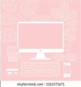 Women workspace. Desktop computer with pot plant, cup of coffee, credit card, keyboard, phone and glasses. Vector illustration