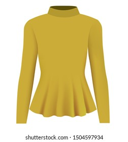 Women yellow blouse long neck. vector