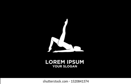 women yoga logon icon design vector