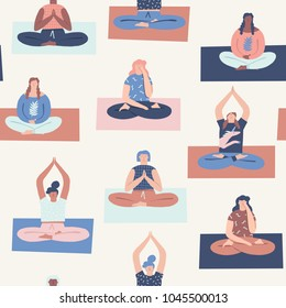 Women yoga meditation class seamless pattern in vector.