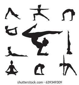 Women Yoga Poses Silhouettes  isolated on white background, Relax and meditate, Healthy lifestyle, Balance training , vector illustration.