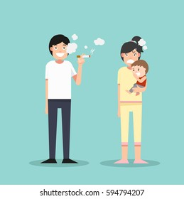 Women and young boy. Smelly cigarette man smoking. vector illustration