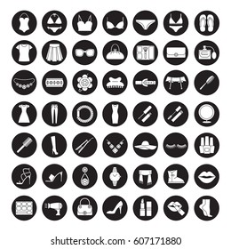 Women's accessories icons set. Clothes, cosmetics, jewelry, footwear and manicure equipment. Ladies fashion. Vector white silhouettes illustrations in black circles