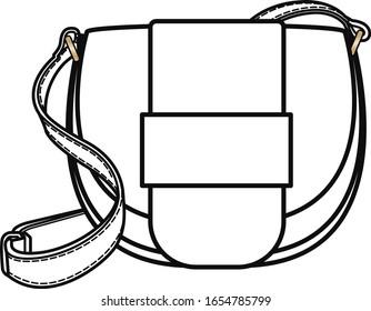Women's Bags flat sketch template