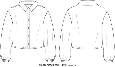 Women's Balloon Sleeve Shirt. Woven shirt technical fashion illustration with button front detail. Flat apparel shirt template front and back, white colour. Women's CAD mock-up.