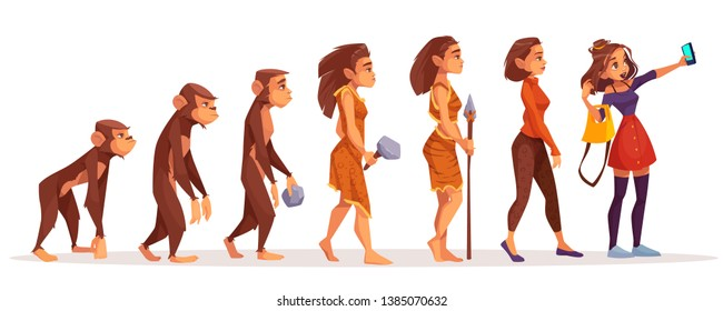 Womens beauty and fashion evolution cartoon vector concept. Female monkey, primate walking upright, stone age hunter in animal skin, modern, dressed fashionable woman making selfie photo illustration