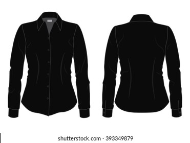 Women's black shirt with long sleeves template, front and back view