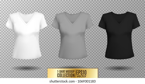 Women's black t-shirt with short sleeve and V-neck in front and back views. Vector template. Fully editable handmade mesh. White gray black
