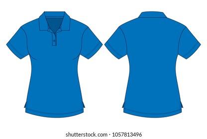 Women's blue polo shirt vector
