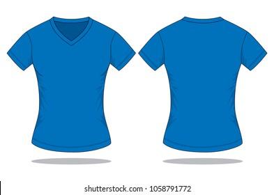 Women's Blue V neck T-Shirt Vector