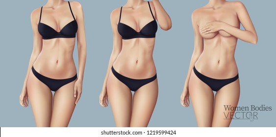 Women's bodies with different poses and black underwear for advertising. Vector illustration