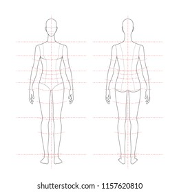 women's body proportions and measurements for clothing design and sewing. Front, back views. vector