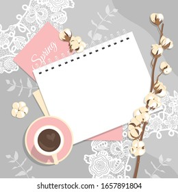 women's business frame. Delicate spring flatlay in pink and beige with a branch of cotton and a Cup of coffee on a lace background.