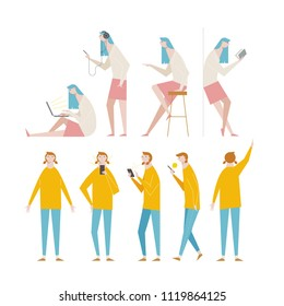 Women's character sauce in various poses. flat design style vector graphic illustration set