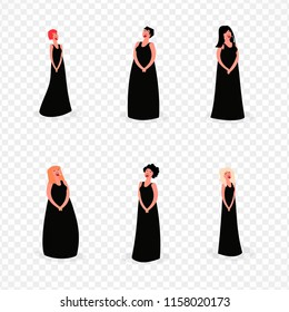 women's choir classical genre, cartoon vector isolated set