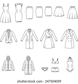 Women's clothes , Garment illustration , Vector
