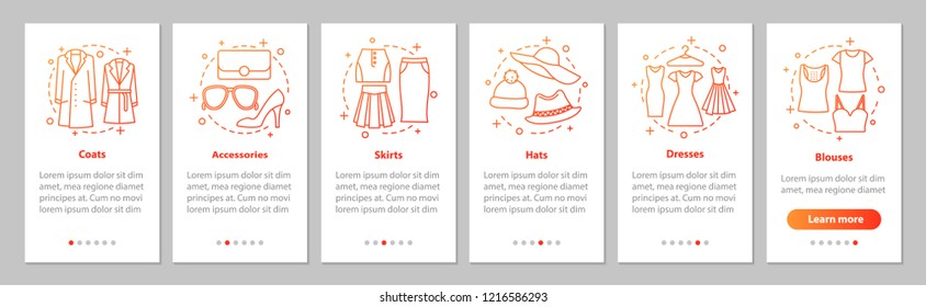 Women's clothes onboarding mobile app page screen with linear concepts. Blouses, hats, dresses, accessories, skirts, coats. Walkthrough graphic steps. UX, UI, GUI vector template with illustrations
