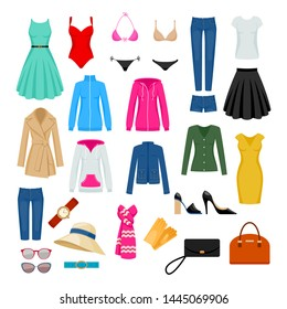 Women's clothes set vector illustration. Assorted apparel.