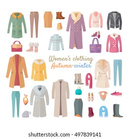 Women's clothing. Autumn winter collection. Stylish fashionable clothes from popular designers. Best world brands trends. New collection of shoes and outwear models. For store, boutique ad. Vector