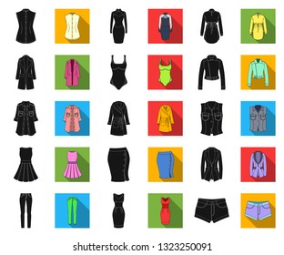 Women's Clothing black,flat icons in set collection for design.Clothing Varieties and Accessories vector symbol stock web illustration.