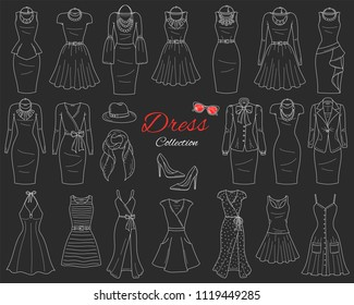 Women's clothing collection. Casual, classy, business and summer beach dresses, with accessories, vector sketch illustration, isolated on chalkboard background.
