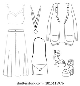 Womens clothing, footwear and accessories. Layout of objects. Line art. Doodles. Isolated vector illustration.