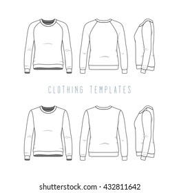 Women's clothing set of basic sweatshirt and raglan sweater. Fashion illustration of sports uniform. Blank vector templates in front, back, side views. Isolated on white background.