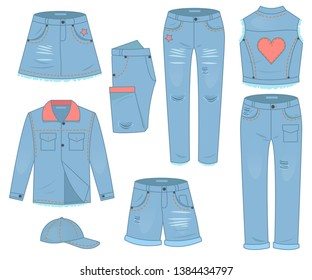 Womens clothing set of blue jeans. Fashion design urban casual style