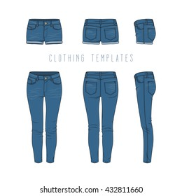Women's clothing set of blue jeans and denim shorts. Vector templates in front, back, side views for fashion design in urban style. Isolated on white background.
