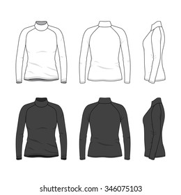 Women's clothing set in white and black colors. Front, back and side views of blank tee with raglan sleeve. Casual style. Vector illustration for your fashion design.