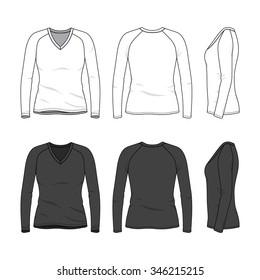 Women's clothing set in white and black colors. Front, back and side views of blank v-neck tee with raglan sleeve. Casual style. Vector templates for your fashion design. Isolated on white.