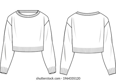 Women's Crop Jumper- Jumper technical fashion illustration. Flat apparel jumper template front and back, white colour. Women's CAD mock-up.