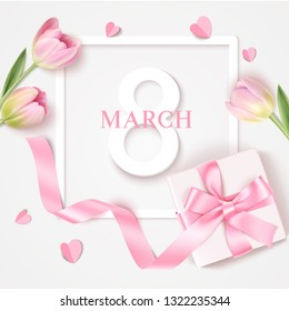 Womens Day 8 March design template. Decorative number eight with gift box and pink tulips. Vector illustration