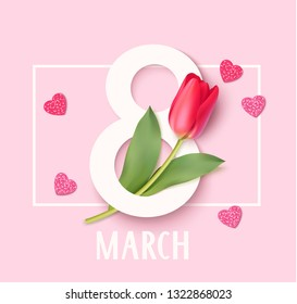 Womens Day 8 March design template. Decorative number eight with red tulips. Vector illustration