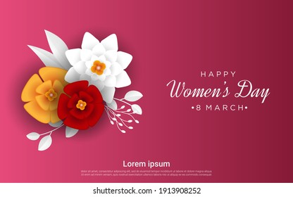 womens day 8 march holiday celebration concept sale banner greeting card poster or flyer with flowers vector illustration