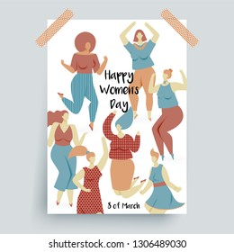 Womens day, 8 of March poster with dancing women
