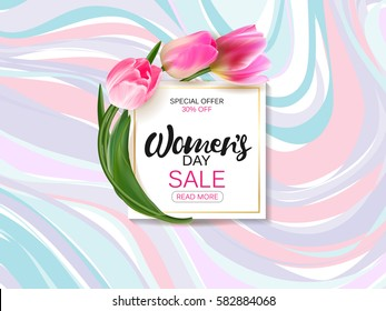 Womens day background with beautiful tulip flowers. Vector illustration template, card, banners, wallpaper, flyers, invitation, posters, brochure, voucher discount.