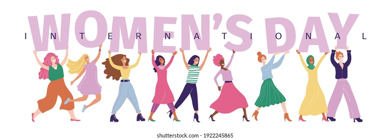 Womens day background. IWD - International  women's rights Day and femininity. 8 March. Different nationalities. Background for card, poster, banner. Minimal trendy woman. Multicultural girls.